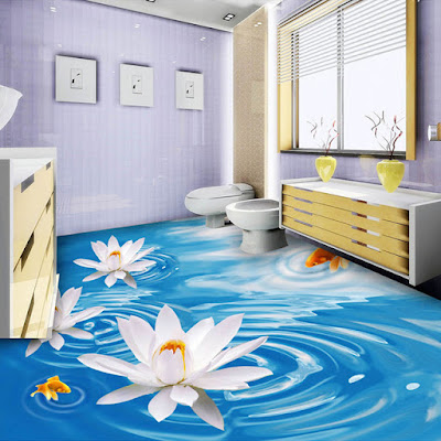 Epoxy paint 3D floor art 3D bathroom flooring murals designs ideas 2018