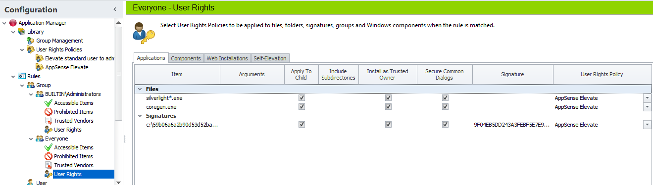 Using AppSense Application Manager User Rights Management