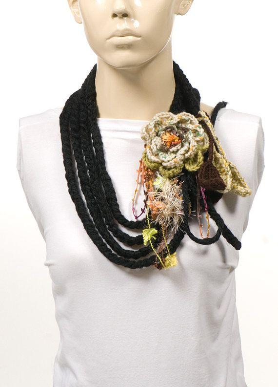 Bufanda Crochet Flores y Cadenetas