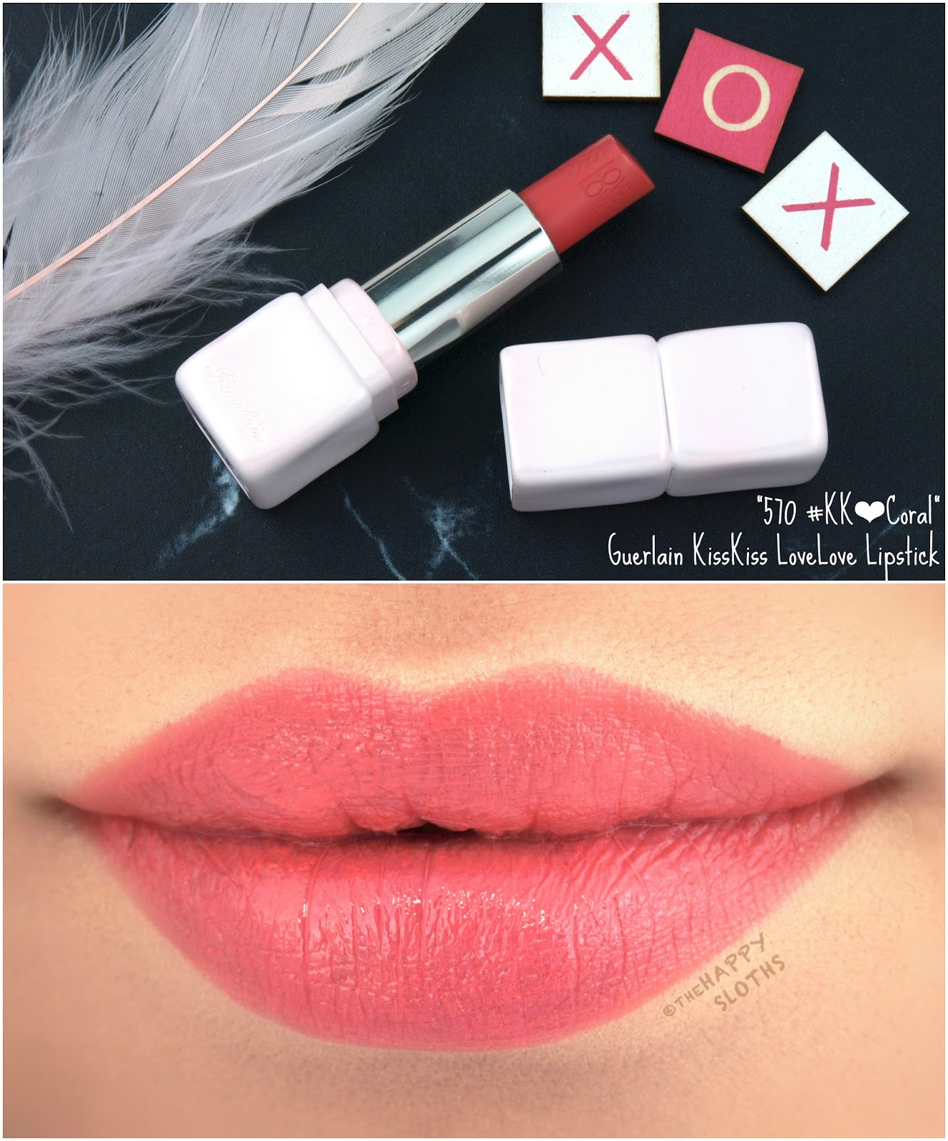 "Guerlain Spring 2018 Collection | KissKiss LoveLove Heart-Shaped Lipstick in ""570 Coral"": Review and Swatches"