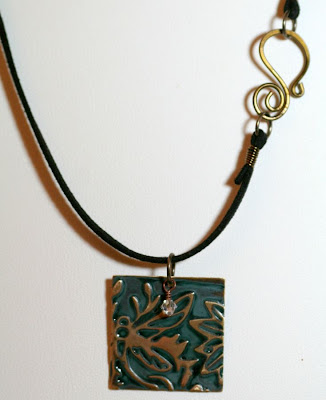 Of Brass and Colours: Green dragonfly ~ Vintaj natural brass components, ColorMeThis! patina, swarovski crystals, leather, brass wire, embossed, metal work, wire wrapping, ooak jewelry, ooak necklaces :: All Pretty Things