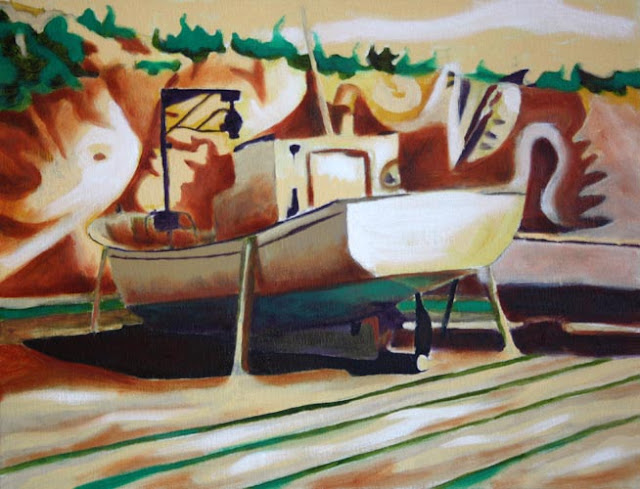 Moored Boat Painting
