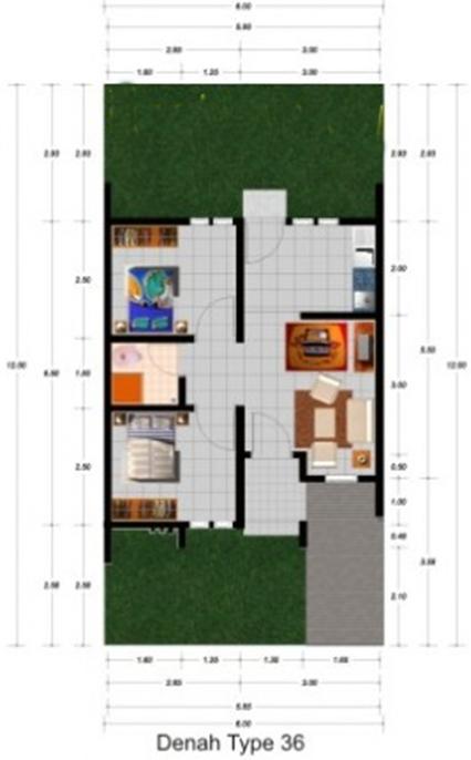 Denah rumah minimalis type 36  dengan 2 kamar tidur
