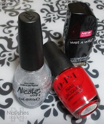opi 'My Wishlist is You', Nicole by OPI 'Scandals, Secrets, and Sparkle', Wet and Wild Wildshine 'Black Creme'