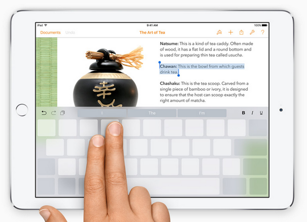 Gambar tampilan keyboard iPad iOS 9 terbaru