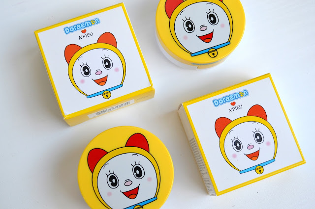 A'Pieu Doraemon Edition Air-Fit Cushion Blusher in Coral and Pink with Swatches