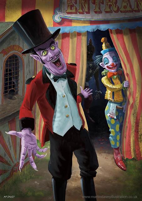 martin davey nasty horror clowns illustration