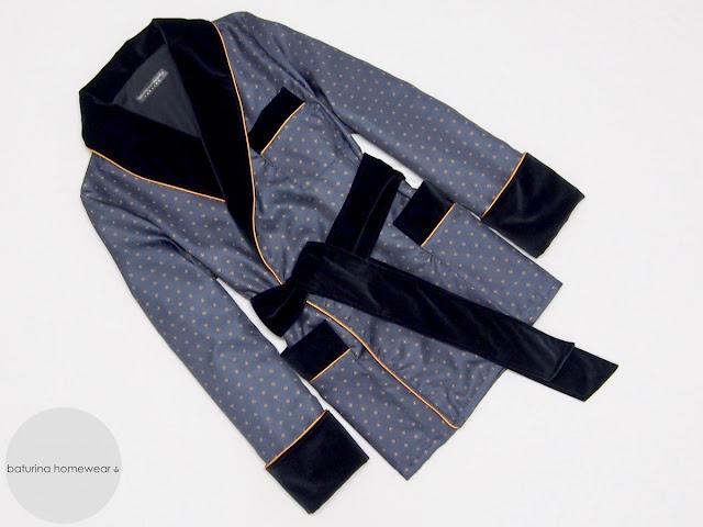 mens smoking jacket robe navy blue velvet silk warm dressing gown