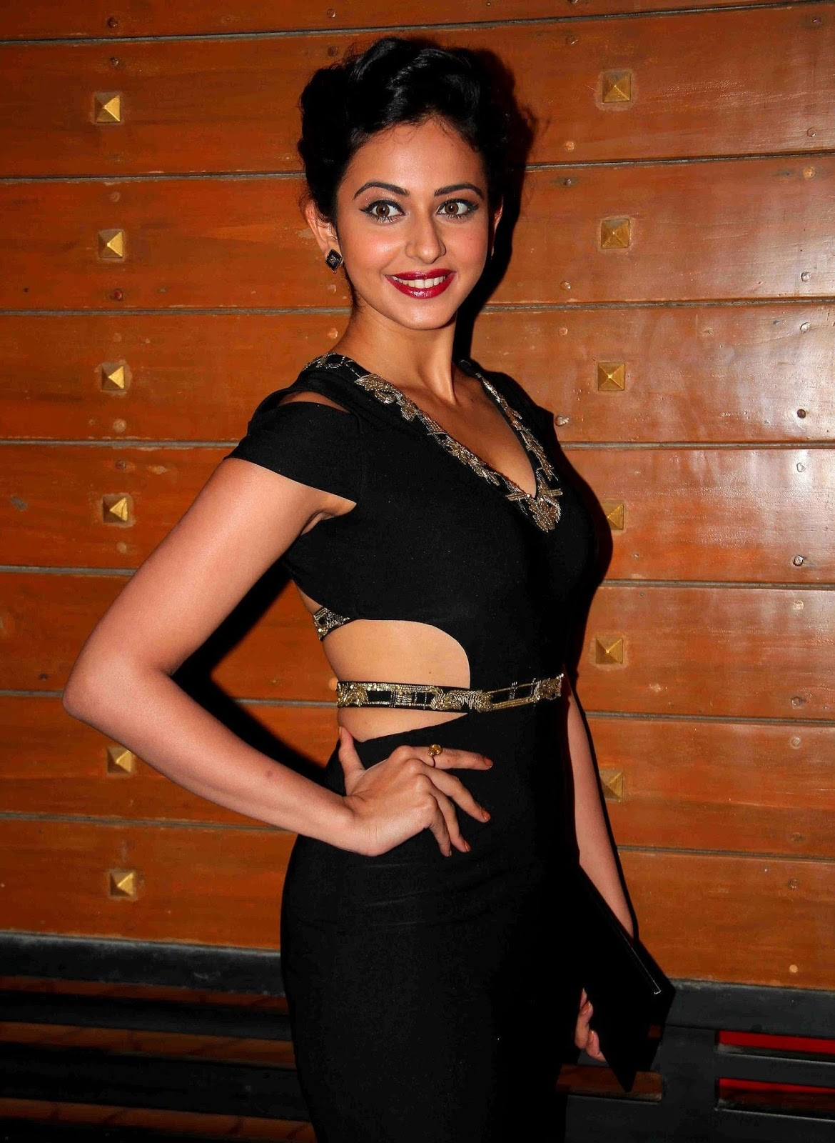 Rakul Preet Beautiful Smiling Photos In Black Dress