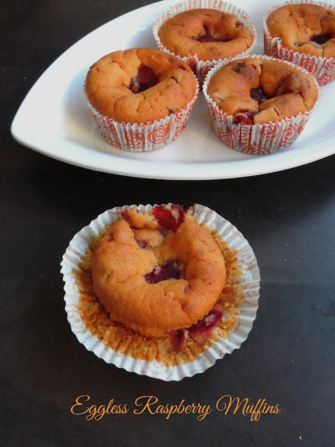 Frozen raspberry muffins, Eggless raspberry muffins