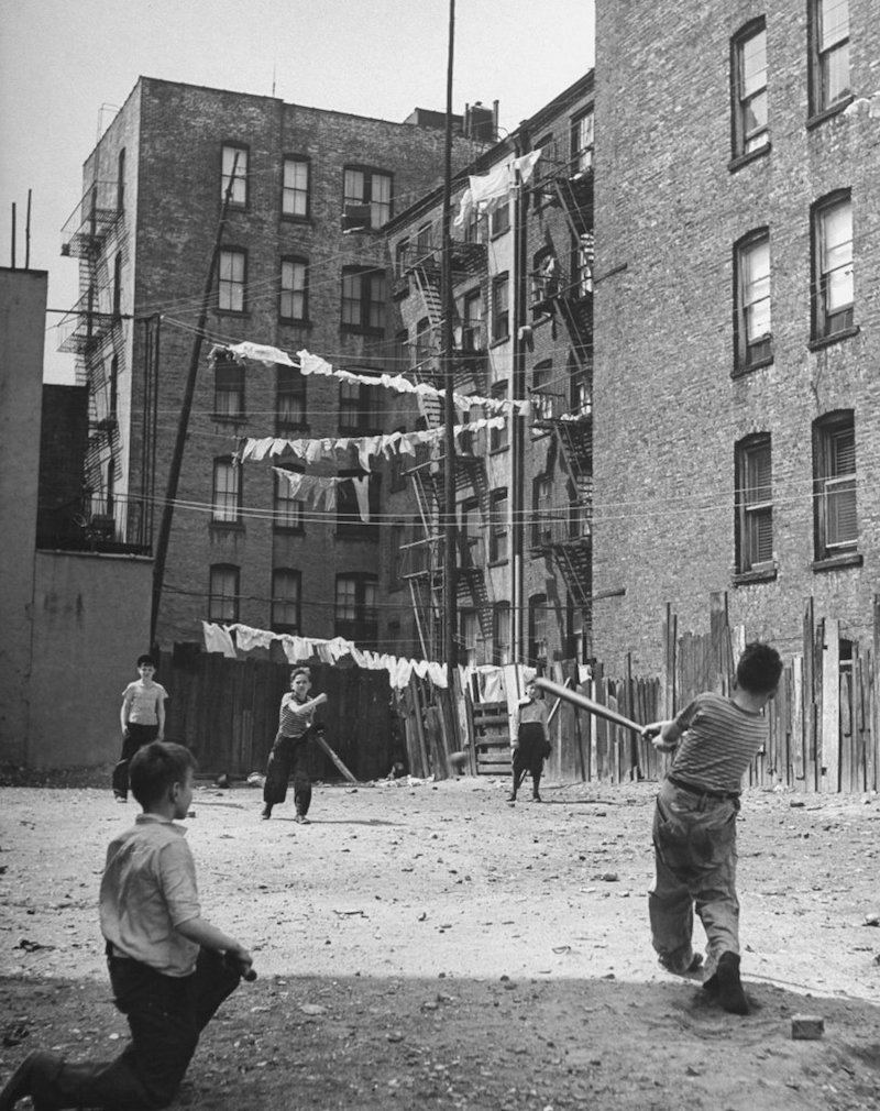 Young boys playing stickball. New York, 1947. By Ralph Morse / LIFE
