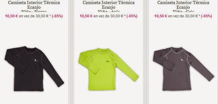 Ejemplos de camisetas térmicas disponibles dentro de la oferta