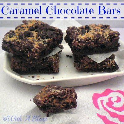 Caramel Chocolate Bars - chewy, gooey delight !  {made with cake mix}    #caramel #bars #sweettreats #chocolate via:withablast.blogspot.com
