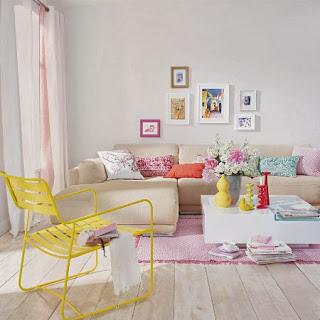 sala con colores pastel