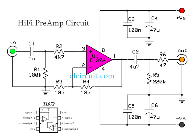 HiFi Audio PreAmp Circuit TL072 Schematic