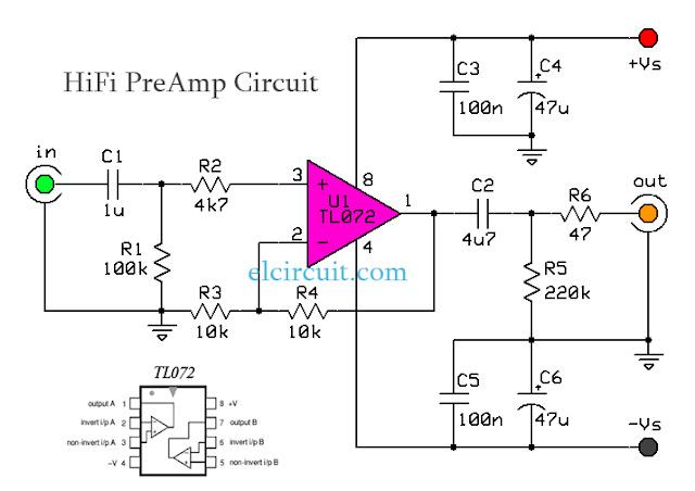 HiFi Audio PreAmp Circuit TL072 Schematic