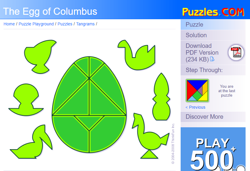 Math Love The Egg Of Columbus Puzzle