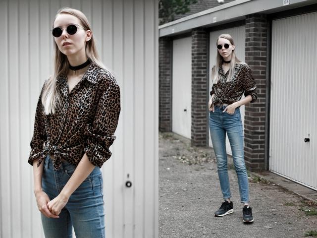 Outfit panter print vintage blouse gehaakte choker polette zonnebril