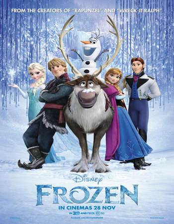 Poster Of Frozen 2013 Dual Audio 350MB BRRip 720p ESubs HEVC Free Download Watch Online Worldfree4u