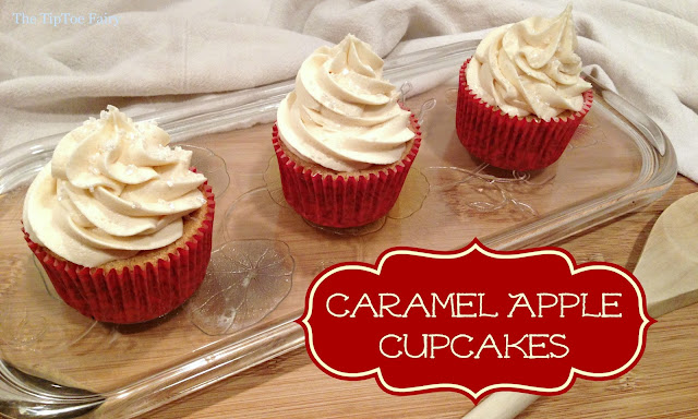 Apple Caramel Cupcakes | The TipToe Fairy #cupcakerecipes #cupcakes #applerecipes #fallrecipes
