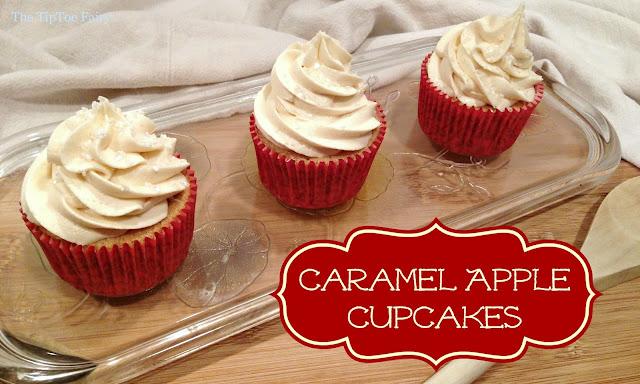 Apple Caramel Cupcakes | The TipToe Fairy #cupcakerecipes #cupcakes #applerecipes #fallrecipes