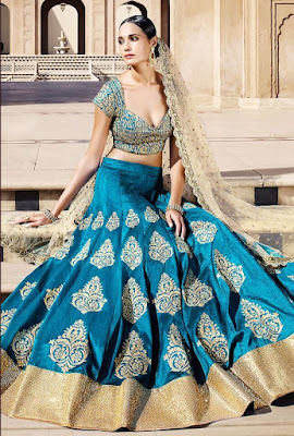Indian Model Girl In Elegant Firozi Bhagalpuri Bridal Lehenga. A Perfect Example Of Elegance, Class And Sophistication.