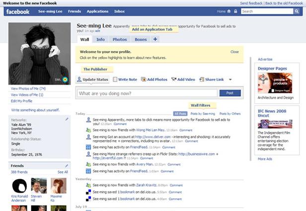 Evolusi Desain Facebook tahun 2008
