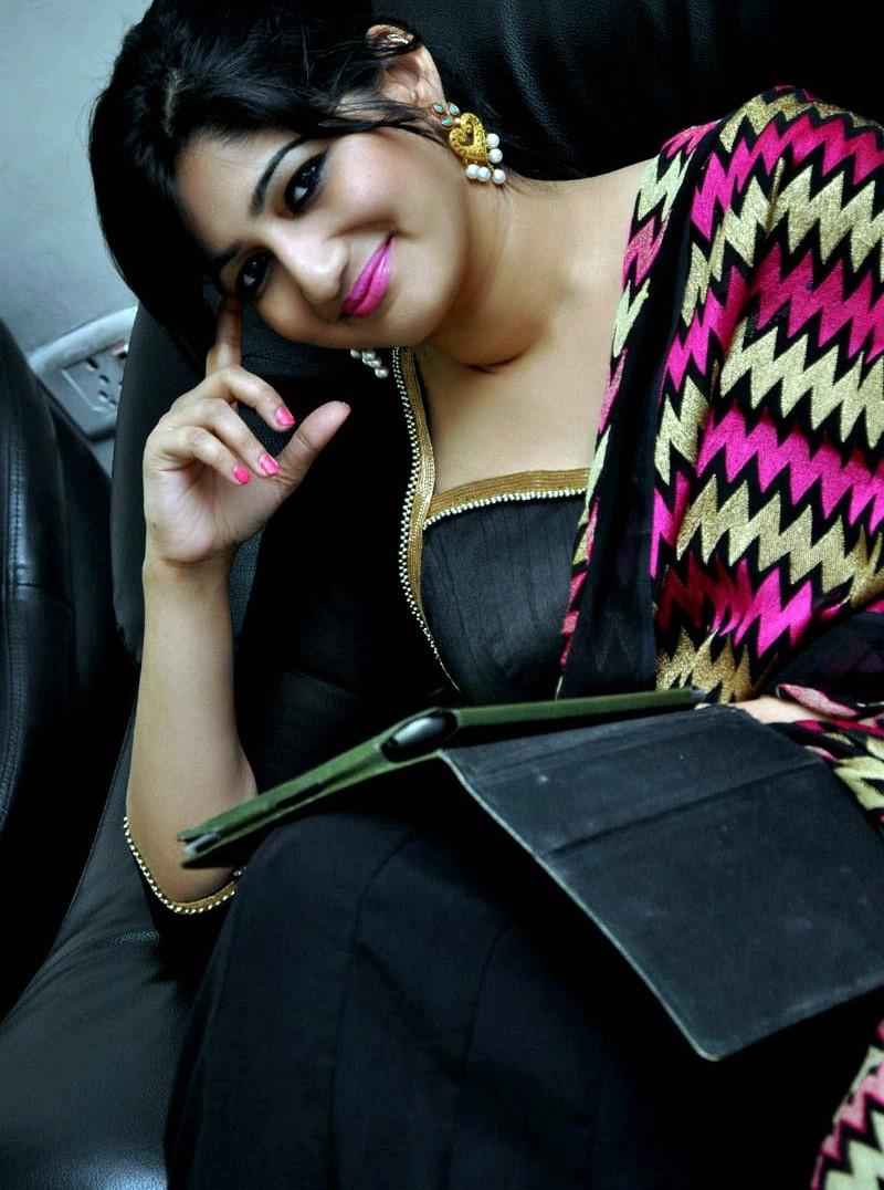 TV Anchor Divya VJ Long Hair Stills In Black Dress