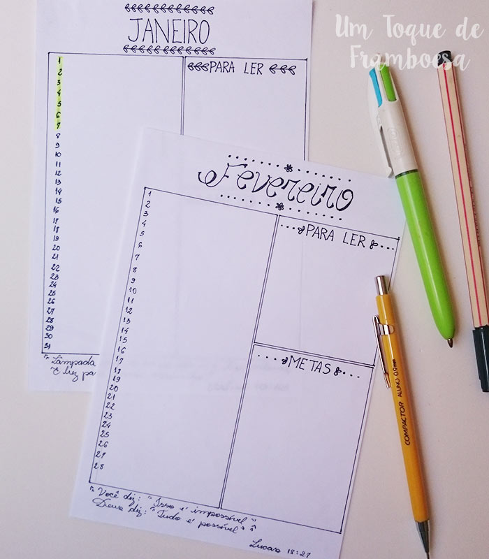 Planejamento mensal bullet journal