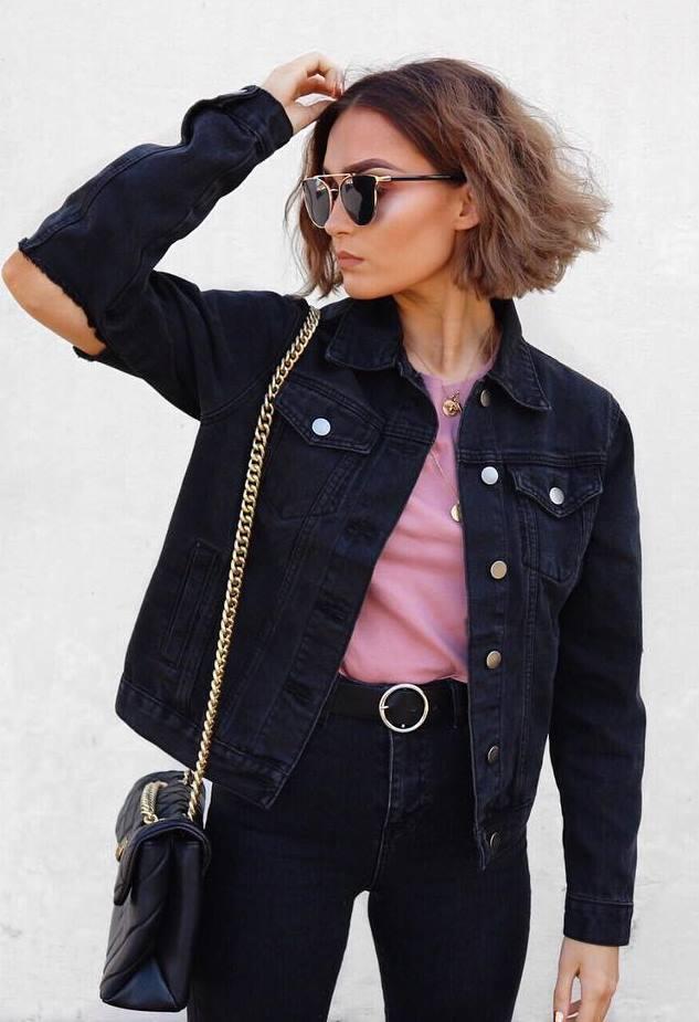 denim fashion trends: jacket + bag + top + jeans
