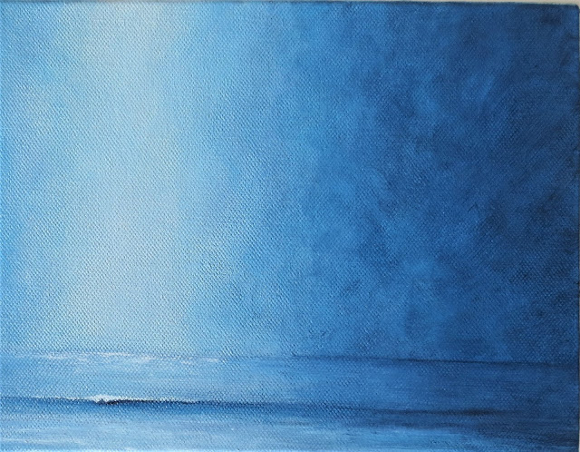 calm waters Into the Blue ocean acrylic painting minimalist semi abstract coastal style beach decor by Lisa Le Quelenec