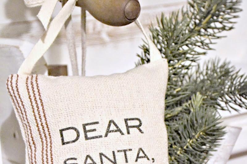 Hanging Grain Sack Christmas Pillows