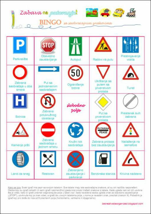 Igrice za decu - Bingo - saobracajni znaci