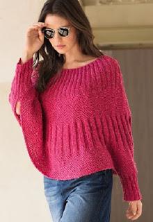 Розовый пуловер-пончо с тканым узором