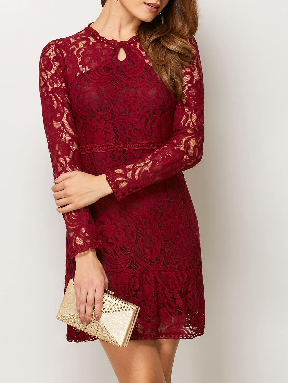Openwork Long Sleeve Lace Mini Dress - Red