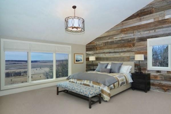 Dormitorio con paredes de madera   dormitorios colores y estilos