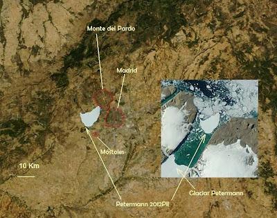 Isla de hielo comparada con Madrid