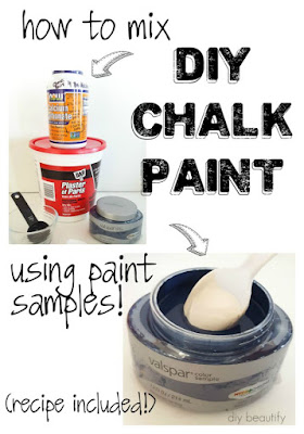 WOW! Mix your own chalk paint right in an inexpensive store sample container! Full tutorial at diy beautify.