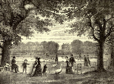 The round pond, Kensington Gardens  from Old and New London by E Walford (1878)
