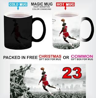 Image: Magic Colour Changing Heat Sensitive Black Mug Basketball Legend Michael Jordan Image For Christmas Gift With Gift Box Options P1 (With Common Gift Box)