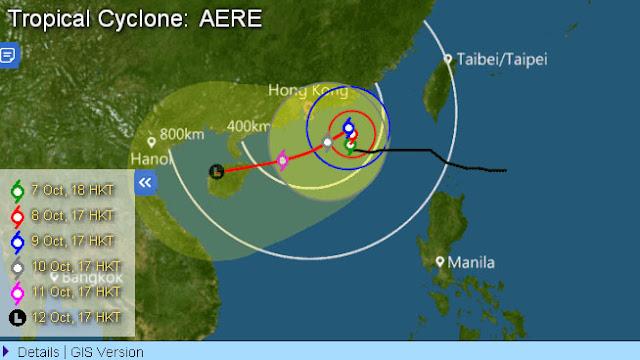 Topan Aere Berputar - Putar di Laut Timur Guangdong dan Melambat, Hong Kong Tunda Peringatan Angin Kencang