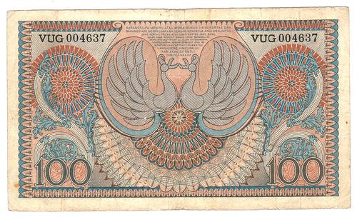 100 rupiah 1952 belakang