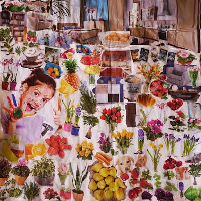 Collage-mapa marzeń, pudełko po herbacie, misie.