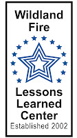 Wildland Fire Lessons Learned Center logo - 3 large concentric stars surrounded by 14 blue stars