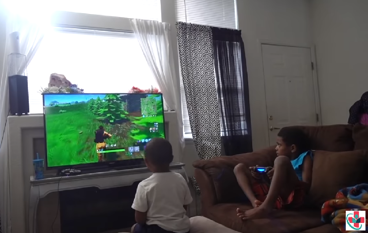Kids playing video game