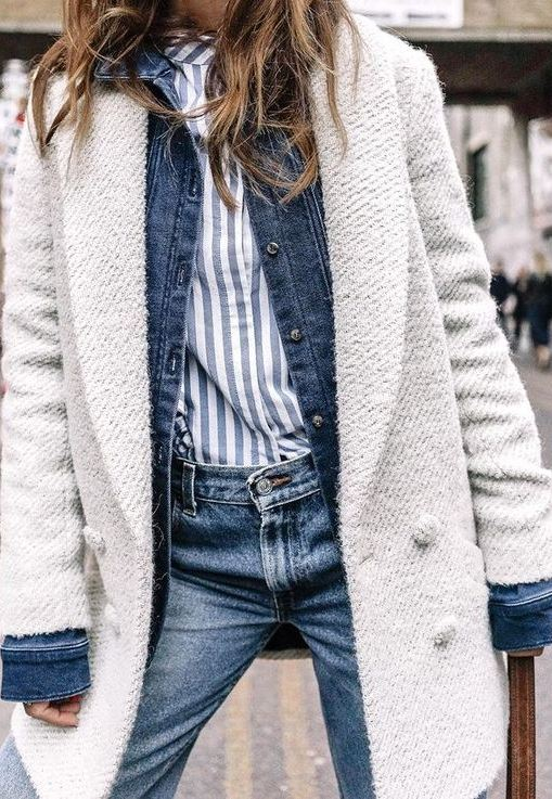 cuzy fall outfit idea : white coat + denim jacket + stripped shirt + jeans