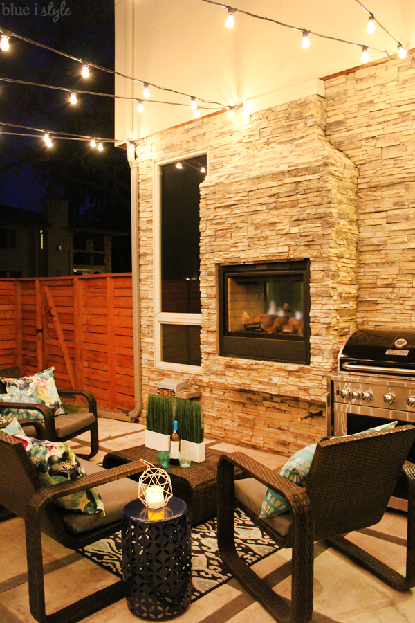 String lights and outdoor fireplace