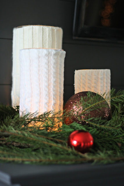 sweater wrapped candle holders