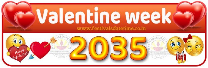 2035 Valentine Week List Calendar, 2035 Valentine Day All Dates & Day