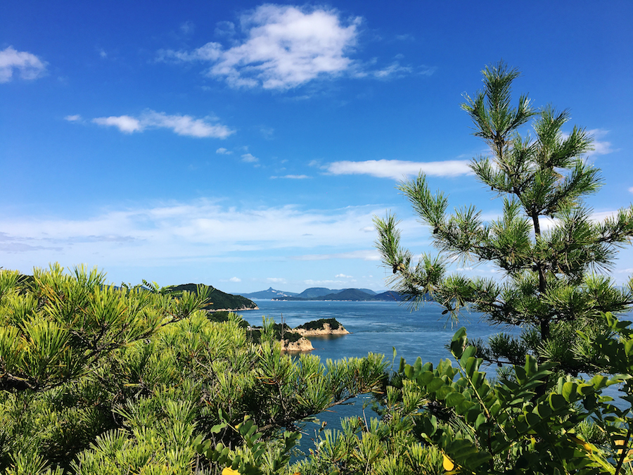 The beautiful seaside vista lining Naoshima Island Japan